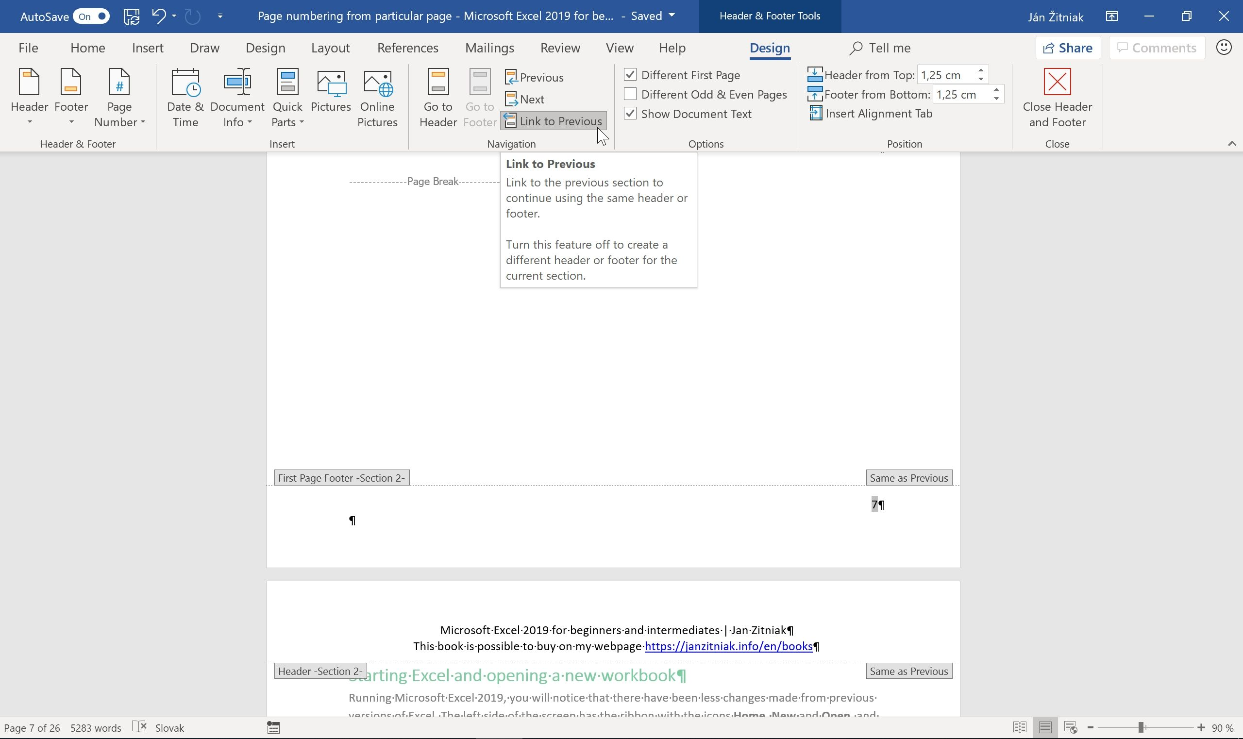 page numbering from specific page in microsoft word 05